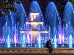 Fountains Of Bucharest At Night - Romania Print by Barry O Carroll Popular Photography, Bucharest, Romania, Fine Art America, Fountain, Night, Outdoor Decor, Artwork, Artist