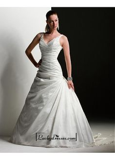 Beautiful Elegant Exquisite Satin A-line Wedding Dress In Great Handwork Sale On LuckyDresses.com With Top Quality And Discount