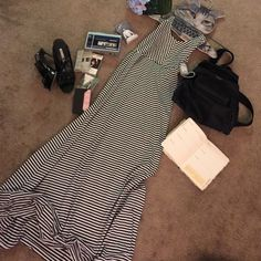 Maxi Halter Stripes Dress Self Tie Open Back EUC, Stretchy Fabric, Super Comfortable, Great for Summer, can fit a M for more of the body on look Youboya Dresses Maxi
