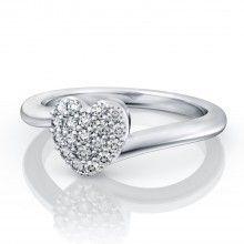 Heart Pave White Topaz Ring in 18kt White Gold.