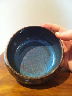 small tenmoku bowl, blue interior -- by SquirrelAstronaut on Etsy