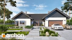 By archon+ projekty domów modern | homify Bungalow Haus Design, Modern Bungalow House, House Design, House Layout Plans, Dream House Plans, House Layouts, Architect House, Style At Home, Exterior Design