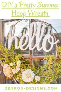 DIY Summer Hoop Door Wreath 2 Ways   JENRON DESIGNS #spring #wreath #doordecor #frontdoor #diy #maypole #springdecor #hoopwreath #diywreath #lambsear #ribbonwreath #wreathdecor #maypoledecor #pink #blue #pastels #flowers #silkflowers #fauxflowers #decorations #springdecorations #easter #easterdiy #summerdecor #fresh #herbs #floral #fauna #welcome #spring #summer #porchdecor #frontdoor #frontdoordecor #wreathdiy #flowers