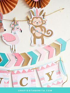 Kit de fiesta tribal, con diseños de enamorables animalitos, oso, buhó, flamenco, ardilla y monito, ideal para celebrar fiestas de cumpleaños, baby shower, primer añito y fiestas temáticas. Archivos digitales listos para imprimir, personalizar textos. Baby Birthday, Birthday Party Themes, Pocahontas Birthday Party, Bunting Banner, Banners, Cute Diy Projects, Baby Shawer, Happy B Day, Woodland Baby