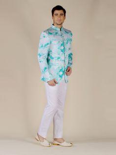 White and Sea Green Silk Jodhpuri Suit