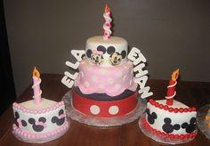 Mickey and Minnie Birthday Cake Twins