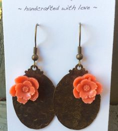 Victorian Style Textured Brass with Coral Cabochon Earrings by dragonflydesigns01