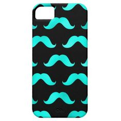 Teal Blue Mustache Faux Foil Metallic Mustaches iPhone 5 Case