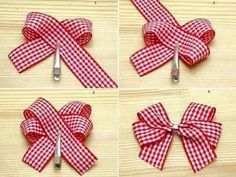 Bows :) gonna have to try this out ! More How to make felt flowers Ribbon Hair Bows, Diy Hair Bows, Diy Bow, Diy Ribbon, Ribbon Crafts, Burlap Hair Bows, Diy Crafts, Christmas Bows, Christmas Crafts