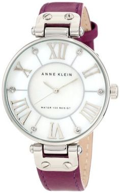 Anne Klein Women's 10/9919MPPR Leather Silver-Tone Purple Leather Strap Watch Anne Klein. Save 31 Off!. $37.85. Silver-tone hour, minute and second hands. Water resistant up to 100 ft.. Large 34 mm round case finished in polished silver-tone. Smooth, purple genuine leather strap on silver-tone hinged lugs with stainless steel buckle closure. White colored genuine mother-of-pearl dial with 12 silver-tone applied roman numeral markers