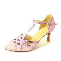 De mujer Cuero Brillo Chispeante Tacones Salón Moderno con Tira T Zapatos de danza (053008212)
