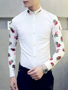 Turn-Down Collar 3D Rose Print Button-Down Long Sleeve Men's Shirt