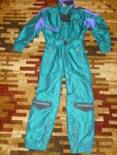RETRO Kaelin Solar Power Ski Snow Suit One Piece Suit Coveralls Pants Bibs sz M #KAELIN