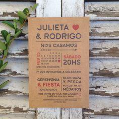 Invitaciones de boda impresas a dos tintas en kraft de 400gr, gran ...