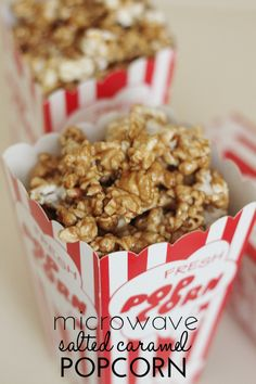 Microwave Salted Caramel Popcorn - this recipe only takes a few minutes and tastes divine.  It's easy to make and perfect for a little salty/sweet treat!