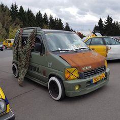 Loved this rat style Suzuki Wagon R from the CT Meet! was in heaven when he saw it! Suzuki Wagon R, Car Throttle, Kei Car, Big Boyz, Rat Look, Cool Vans, Mini Trucks, Motorcycle Garage, Cute Cars