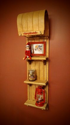 Repurposed toboggan into a wall shelf. 4 foot long. Great addition to Christmas decor.