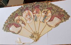 USA HIGH QUALITY VICTORIAN DIE CUT EMBOSSED NIGHT BEFORE CHRISTMAS PAPER FAN