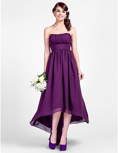 A-line Strapless Asymmetrical Chiffon Bridesmaid Dresses – USD $ 79.99 Maybe get straps added on?