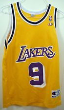 Champion Los Angeles Lakers Nick Van Exel  9 NBA Basketball Jersey Adult 40  Gold 8b6c1e16c