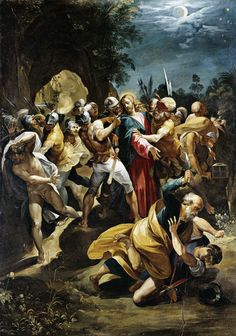 """Arrest of Jesus by Giuseppe Cesari (1568-1640), 1597, Museumslandschaft Hessen Kassel. """"Then Simon Peter, who had a sword, drew it and struck the high priest's servant, cutting off his right ear. (The servant's name was Malchus.)"""" John 18:10 """" But Jesus answered, """"No more of this!"""" And he touched the man's ear and healed him."""" Luke 22:51"""