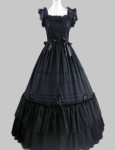 64460261a3b   52.24  Princess Gothic Lolita Dress Ruffle Dress Satin Women s Dress  Cosplay Black Cap Sleeve Long Length Costumes