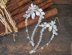 Купить Серьги свадебные из бисера и бусин, серьги для невесты - белый, свадебные…