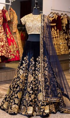 Wedding Lehenga in velvet #Indianweddingdresses