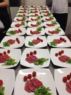 Beef Sirloin Capriccio and Cherry Tomato Salad.