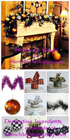 Halloween Decorations-Halloween Mantle and decorating ingredients from http://www.showmedecorating.com