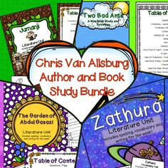 Chris Van Allsburg books plus an author study and book comparison activities.  This BUNDLE includes:  Literature Units and activities for: The Garden of Abdul Gasazi Jumanji Zathura The Polar Express Two Bad Ants  hansenshelpers.blogspot.com