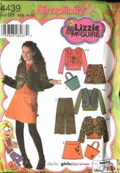 Simplicity Sewing Pattern 4439 Girls Plus Size 8½-16½ Mini-Skirt Vest Top Cropped Pants Jacket Bag  $8.99