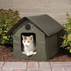 The Only Heated Outdoor Cat House - Hammacher Schlemmer - This is the only heated outdoor cat home that keeps felines warm and comfy in cool temperatures.
