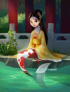 Illustration of an Asian mermaid with koi fish tail. Illustration of an Asian mermaid with koi fish tail. Mermaid Drawings, Mermaid Art, Anime Mermaid, Cartoon Kunst, Cartoon Art, Fantasy Creatures, Mythical Creatures, Pretty Art, Cute Art