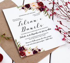 Convite Casamento Floral - Digital Inclui a arte do convite individual Convite 15x21 Convite individual 5x5 Nada é enviado pelos Correios, todos os produtos da loja são enviados por e-mail (arte digital), não são impressos. ECONOMIZE na sua festa comprando a arte digital. Você pode imp...