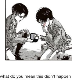 Levi proposes to Eren in manga<< haha not really. Eren is coughing up blood and levi (believe it or not) is offering a hankie. But this one's funny xD