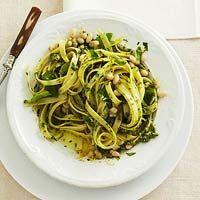 Lemon Basil Pasta - Linguine, can of cannellini beans, 1/2 lemon, 3 tbsp. olive  oil, 1 cup fresh basil leaves.