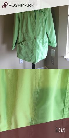 Light weight jacket brand new with tags-REDUCED Lime green light weight jacket perfect for warm states. 2 pockets with snap closures Studio Works Jackets & Coats