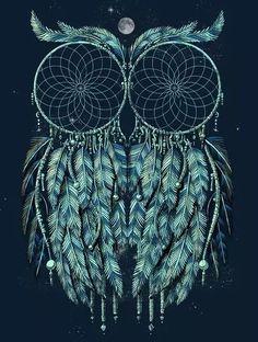 Image via We Heart It https://weheartit.com/entry/170424581 #black #blue #Dream #lightblue #owl #catcher