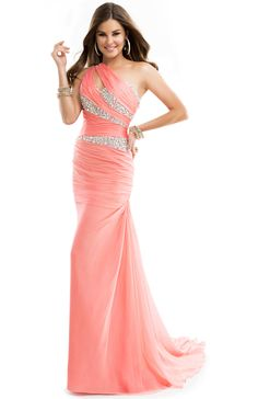 Sequin Gown with Asymmetrical Neckline, Single Sleeve & Front Slit | FLIRT #coral #promdress #sparkling