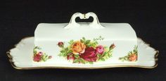 Royal Albert Old Country Roses Covered Butter Dish 1st Quality