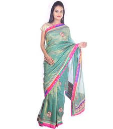 Buy Green printed Kota Cotton saree with blouse shimmer-saree online