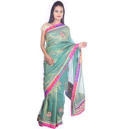 Buy Green printed Kota Cotton saree with blouse shimmer-saree online