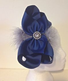 Back to School Fancy Girl Boutique Cheer Size Navy  Hair Bow, Grey Feather Glitter Headband. Handmade by FancyGirlBoutiqueNYC, $14.99