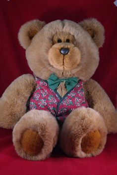 """Commonwealth 20"""" Brown Plush Stuffed Bear with Candy Cane Christmas Vest Bow #CommonwealthToys"""