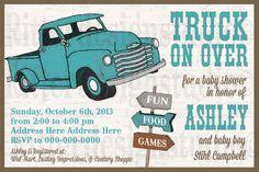 Old Vintage Truck Baby Shower Invitation by RitterDesignStudio