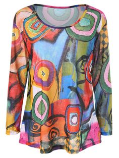 Color Block Printed Long Sleeve T-Shirt in Colormix | Sammydress.com