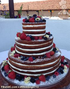 "Design W 0713 | Naked Wedding Cake | 14""+10""+6"" 