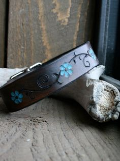 Dark brown leather dog collar with turquoise flower by TravelingW, $22.00