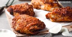 """All the flavour and crunch of Southern fried chicken...but made a whole lot healthier by baking! I love this SOUTHERN OVEN """"FRIED"""" CHICKEN!"""